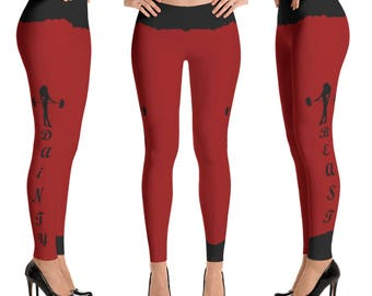 Red fitness leggings, beast leggings, Cross fit gym leggings, Dainty gym leggings, red leggings