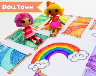 Play Mat Doll House: Doll Town | Unique Kids Gift Idea | Lalaloopsy Playmat | Pollypocket | Littlest Pet Shop | Playhouse | Girl's Birthday