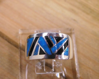 Classy Turquoise and Jet Inlay Sterling Silver Ring Size 9 3/4