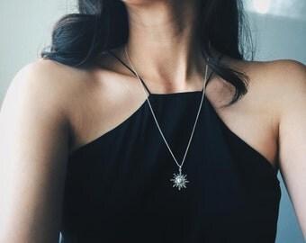 Sterling silver boho sun necklace, Sterling silver sun charm necklace, Silver boho necklace, Bohemian charm necklace (CH60)