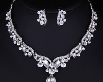 Bridal Necklace Set, Wedding Necklace Set, Cubic Zirconia Necklace Set, Bridal Necklace, Silver Plated Necklace Set, Prom Necklace Set