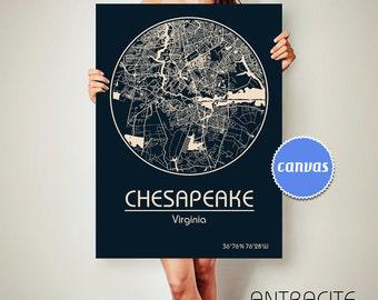 CHESAPEAKE Virginia CANVAS Map Chesapeake Virginia Poster City Map Chesapeake Virginia Art Print Chesapeake Virginia va ArchTravel