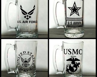 26oz Military Beer Mugs army navy marines air force