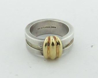 Vintage Stamped Tiffany & Co. Sterling Silver - 18 kt Gold Band / Size 5 1/4.