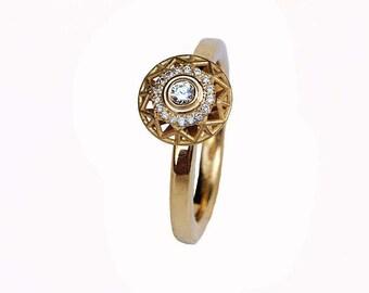 Diamond Ring, 18K Gold Ring, Geometric Gold Ring, Engagement Ring, Unique Diamond Ring for Women, Wedding Bridal Ring