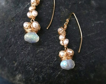 Artisan wrapped natural freshwater beads pearls paired with moonstone crystals 20176