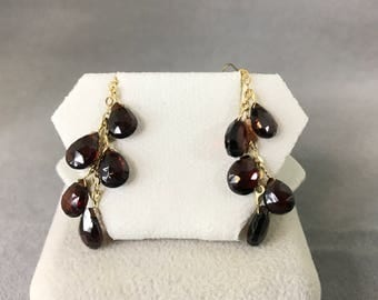 14K Yellow Gold Natural Garnet (1.10 ct *10) Earrings, Appraised 727 USD