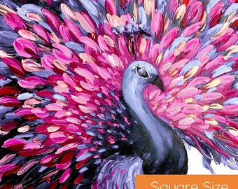 Extra Large Wall Art. Modern Art Wall Hanging. Purple Peacock Painting. Home Decor. Original Painting on Canvas Art. Animal Painting