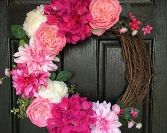 Spring Floral Wreath, Spring Wreath, Pink Door Wreaths, Spring Door Wreath, Floral Wreath For Front Door, Summer Door Wreath, Door Wreaths