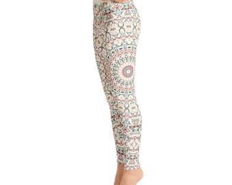 High Waist Womens Pattern Leggings - Printed Leggings Tights, Colorful Mandala Yoga Pants