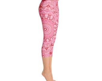 Capris - Printed Workout Leggings, Mid Rise Pink Mandala Yoga Pants, Leggings Gifts for Her, Custom Leggings, Handmade Yoga Pants