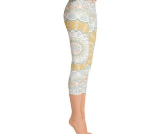 Capris - Designed Leggings, Spring Mandala Leggings, Blue and Yellow Printed Tights, Patterned Tights, Yoga Pants, Stretch Pants
