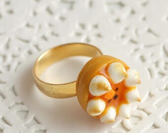 Tart mango Passion meringue Fimo gold Adjustable ring, handmade ring made of polymer clay