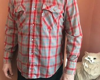 90s Western Shirt, Red, Blue, Plaid, Cowboy, Snap Button Down (B441)