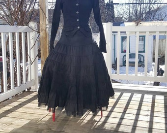 Victorian style costume,Gothic costume,2 Piece black steampunk costume 30% off this month