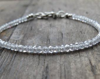 Ice White Cubic Zirconia Faceted Bead Bracelet