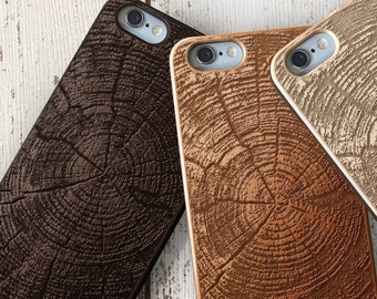 Wood Tree Rings iPhone Case SE 5c 5s 5 6 /6s 7 Plus Case | iPhone 7 Case | Samsung Galaxy S6 / S7 Real Wood Case Laser Engraved Wooden Case