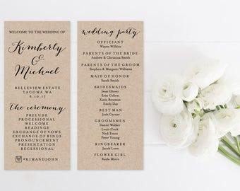 Wedding Program Template Print, Custom Printable Wedding Program, Printable Digital Ceremony Program, White or Kraft Paper Background