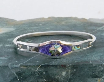 Vintage Mexico Taxco Silvertone Hinge Purple Cuff Bracelet Abalone Shell Inlays