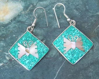 Mexico Alpaca Silver Vintage Dangle Earrings Crushed Green Stone & Abalone Butterfly