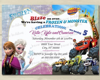 Frozen and Blaze Birthday Invitations,Sibling, Dual Character,Any characters, 5x7, Printed Or Digital File *** FREE SHIPPING