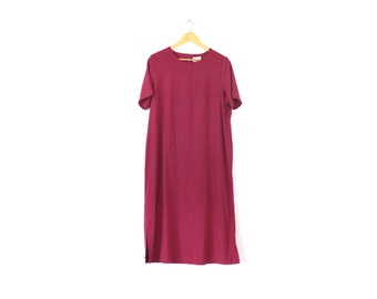 Vintage raw silk sack dress / Long cranberry silk dress / Minimalist silk shirt dress / Short sleeve red silk dress / Silk maxi dress