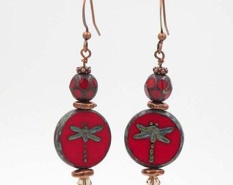 Dragonfly red Czech glass bead dangle earrings