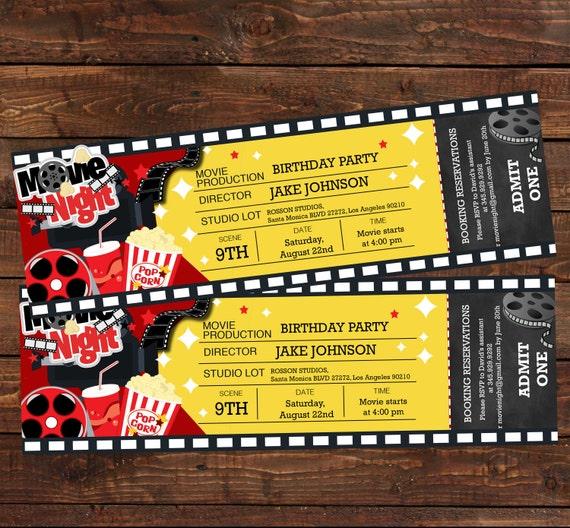 Movie ticket birthday invitation Movie party invitation – Movie Ticket Birthday Invitation