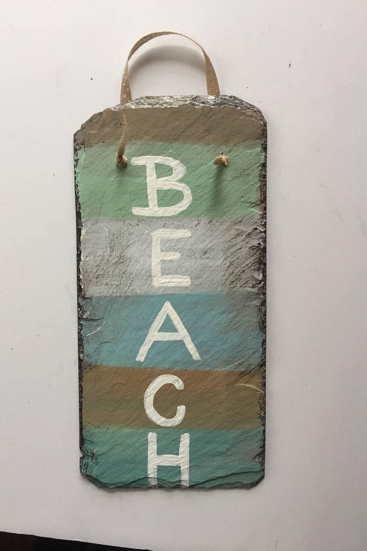 beach signs, beach lovers sign, coastal painted slate sign, beach