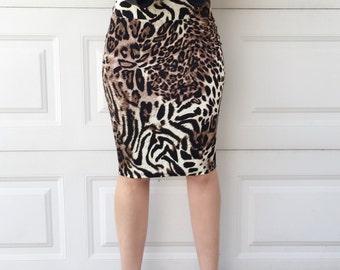 Leopard Print Fitted Knit Pencil Skirt, Leopard Skirt