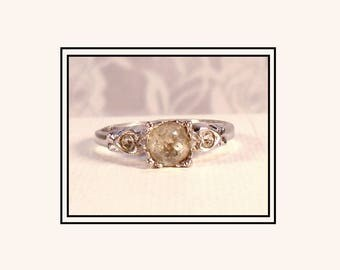 1930s Engagement Ring, Antique 3-Stone Ring, Early Signed UNCAS, Sterling Silver Ring, Paste Engagement Ring, Heart Band Engagement Ring.