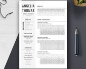 Professional Resume Template, CV Template, Cover Letter, MS Word, Mac, PC, Creative Modern Simple Teacher Resume, Instant Download, Angelia