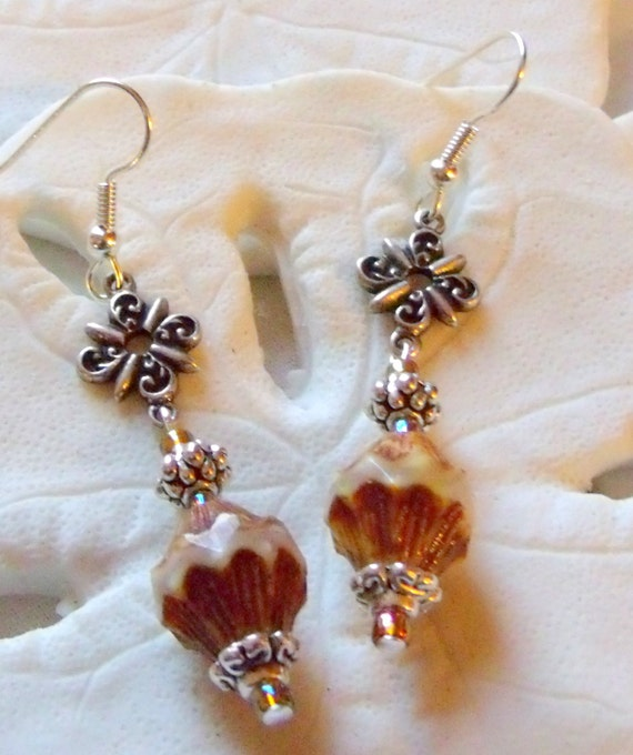 Silver filigree charm and etched glass bead earrings, long dangle jewelry, creamy white caramel beads, silver cap and cluster beads, fantasy