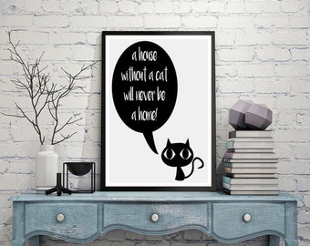 Cat lover gift, Cat poster, Home quotes, Cat print, Kitty, Minimalist art, Printable quotes, Home decor, Cute animals, Pet prints, wall art