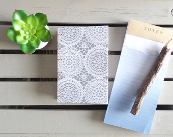 Small Gray Journal - Doily Pattern Notebook - Handmade Journal - Gift For Her - Writing Journal - Art Sketchbook - Blank Book