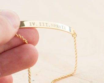 Roman Numeral Bracelet - Roman Numeral Jewelry - Thin Gold Bar Bracelet - Stamped - Personalized Date Bracelet - Wedding Date Jewelry