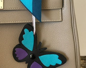 "Double-Sided Leather ""Snap"" Butterfly Bagcharm"