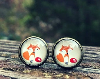 Fox earrings -  12mm glass nickel-free earrings