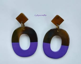 Chic buffalo horn earrings, Lacquering in Purple color [EA-039]