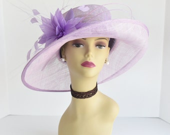 L17 New Kentucky Derby, Church, Wedding, Easter, Tea Party Wide Brim with feather flower Sinamay Hat ( Lilac )