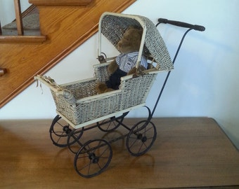Antique Wicker Doll Carriage Baby Buggy Vintage Cast Iron Baby Stroller Nursery Decor All Original