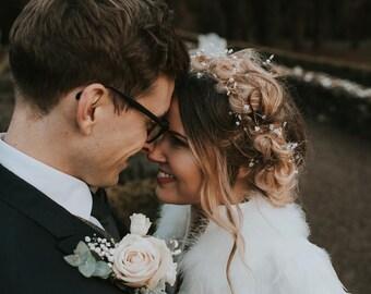 Bridal hair vine, pearl hair accessory, wedding headpiece, pearl halo, boho halo, bridal wreath, pearl hair vine, long hair vine, crown