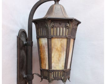 A7248 Antique Large Bronze Porch Wall Lantern Exterior with Slag Glass Lenses