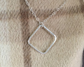 Open Square Necklace; Choker - Sterling Silver