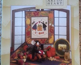 Harvest Home by Nancy Halvorsen - Art to Heart - Seasonal Primitive Quilt Applique Pattern book - Pillows - Stitchery