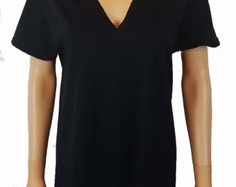 V Neck Choker Cutout T Shirt / Deep V Choker Tee