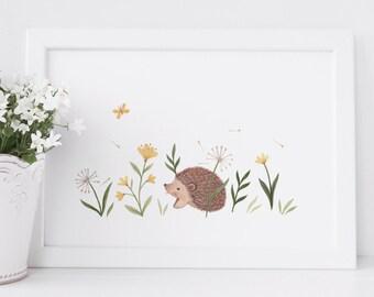 Petite Meadow Prints : Hedgehog. Animal Inspired Nursery Giclee Print Illustrated by Nina Stajner