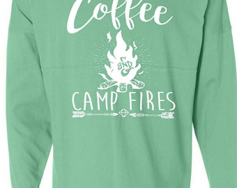 Coffee and Camp Fires oversized Jersey Long Sleeve Shirt