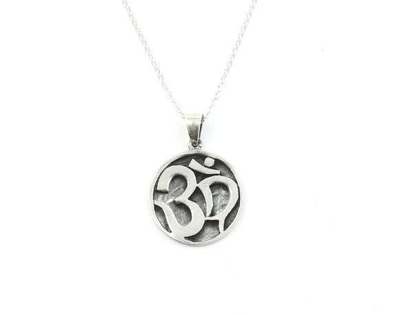 Sterling Silver Om Necklace, Yoga Jewelry, Meditation, Spiritual, Boho, Gypsy, Festival, Hippie
