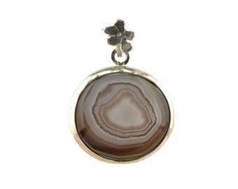 Banded grey agate sterling silver pendant